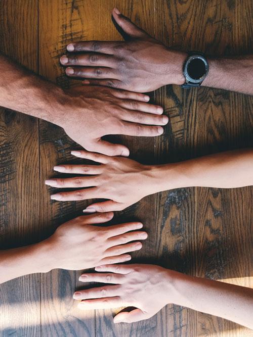 Hands showing diversity